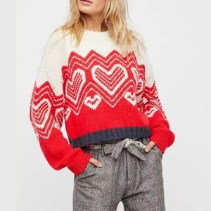 Free People I Heart You Cropped Pullover Sweater
